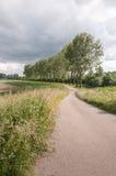 Landweg in einer ländlichen Landschaft mit dem Bedrohen bewölkt sich stockfoto