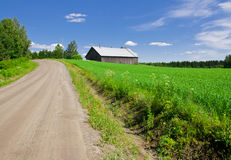 Landweg en gebied Stock Foto's