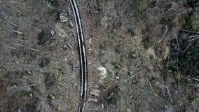 Landweg in het midden van een vernietigd bos na een orkaan, satellietbeeld stock footage