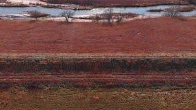 Landweg langs kant de Rivier van bodarkansas stock footage
