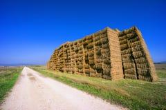 Landweg met baalstapel Royalty-vrije Stock Fotografie