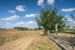 Landweg met houten omheining Stock Foto