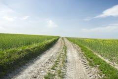 Landweg omhoog door de gebieden royalty-vrije stock fotografie