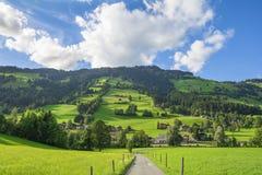 Landweg in Westendorf, Brixental-Vallei in Tirolean Alpen, Oostenrijk, royalty-vrije stock afbeelding