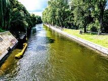 Landwehrkanal in Berlin Kreuzberg Royalty-vrije Stock Fotografie
