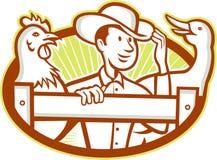 Landwirt-With Chicken Goose-Karikatur Stockbilder