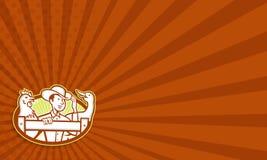 Landwirt-With Chicken Goose-Karikatur Lizenzfreie Stockfotografie
