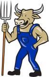 Landwirt-Cow Holding Pitchfork-Karikatur Lizenzfreie Stockfotos