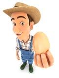 Landwirt 3d, der ein Ei hält Stockfoto