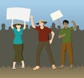 Landwirt-Demonstrations-fordernde Gerechtigkeit lizenzfreie abbildung