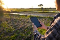 Landwirt, der digitalen Tablet-Computer in bebauter Landwirtschaft F verwendet Lizenzfreies Stockbild