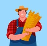 Landwirt, der eine Garbe Weizen hält Landwirtschaft, Karikaturvektorillustration stock abbildung