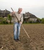 Landwirt, der im Garten arbeitet Stockbild