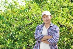 Landwirt, der im Garten mit Obstbäumen steht lizenzfreie stockbilder