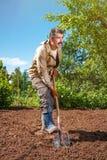 Landwirt, der im Garten mithilfe einer Schaufel gräbt t arbeitet Lizenzfreies Stockfoto