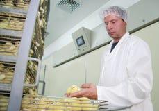 Landwirt, der im Inkubator arbeitet Stockbilder