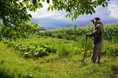 Landwirt, der mit einer Schaufel steht Lizenzfreie Stockfotografie
