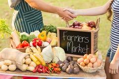 Landwirt, der seine Kundenhand rüttelt Stockfoto