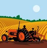 Landwirt, der Weinlesetraktor antreibt Stockfotos