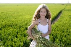 Landwirt des kleinen Mädchens auf Reis stellt grünes im Freien auf lizenzfreie stockbilder
