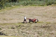Landwirt dreht Heu in Pustertal, Österreich Lizenzfreie Stockfotografie