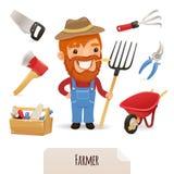 Landwirt Icons Set Lizenzfreie Stockfotos
