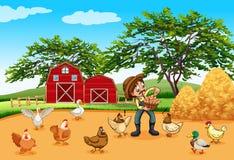 Landwirt mit Hühnern und Eiern lizenzfreie abbildung