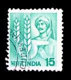 Landwirt, Retorte und Mais, Landwirtschaft serie, circa 1981 lizenzfreies stockfoto