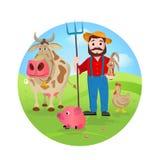 Landwirt an seinem Bauernhof mit einem Bündel Vieh Stockfotos