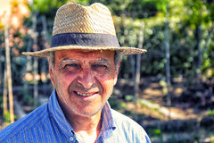 Landwirt Straw Hat Portrait Stockbild