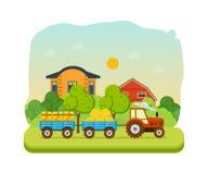 Landwirt und Ackerland, Dorf mit Gärten, Grün, Heu, Bioprodukte vektor abbildung