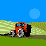 Landwirt und Traktor Lizenzfreies Stockfoto