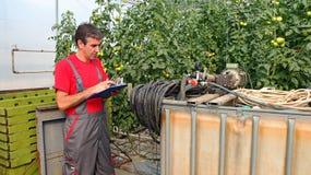 Landwirt Using Calculator Lizenzfreie Stockbilder