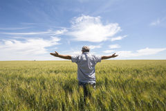 Landwirt wünscht, dass es regnet stockfoto