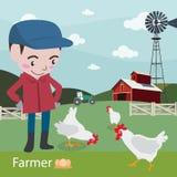 Landwirte am Arbeitslandwirtschafts-Illustrationsvektor Lizenzfreie Stockbilder