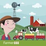 Landwirte an der Arbeitslandwirtschaftsillustration Stockfotos