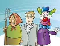 Landwirtfrau, -geschäftsmann und -clown Stockfotos