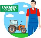 Landwirtkonzept Ausführliche Illustration des Fahrers, Arbeiter im Overall stock abbildung