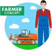 Landwirtkonzept Ausführliche Illustration des Fahrers, Arbeiter im Overall auf Hintergrund mit Traktor, Bagger auf dem Gebiet lizenzfreie abbildung