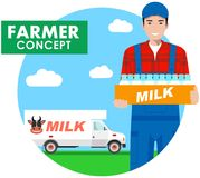 Landwirtkonzept Ausführliche Illustration des Fahrers, Milchmann im Overall auf Hintergrund mit Milch-LKW in der flachen Art Vekt stock abbildung