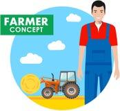 Landwirtkonzept Ernten Sie ausführliche Illustration des Fahrers, Arbeiter im Overall auf Hintergrund mit Traktor auf dem Gebiet  vektor abbildung