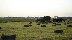 Landwirtlasts-Heuballen stock video footage