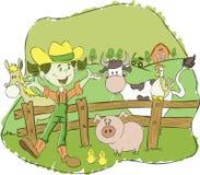 Landwirtmädchen auf einem Bauernhof mit Tieren vektor abbildung