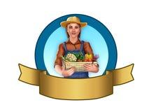 Landwirtmädchen mit Gemüse lizenzfreie stockfotos