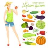 Landwirtmädchen und Sammlung Gemüse Stockbilder