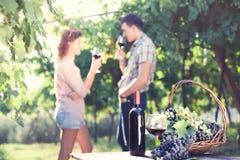 Landwirtschaft des trinkenden Weins der Paare während der Ernte lizenzfreie stockbilder
