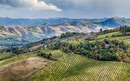 Landwirtschaft und Natur in Romagna-Hügeln Stockfotografie