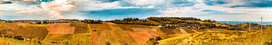 Landwirtschaft und Natur in Romagna-Hügeln Lizenzfreie Stockfotografie