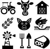 Landwirtschaft von schwarzen Ikonen auf Weiß Lizenzfreie Stockbilder