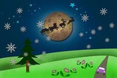Landwirtschaftliche Ansicht und Weihnachtsmanns Tier mit Mond stock abbildung